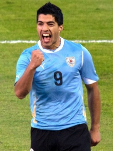 Luis Suarez showing off those pearly whites